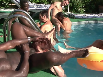 four mature wives getting fucked by the pool