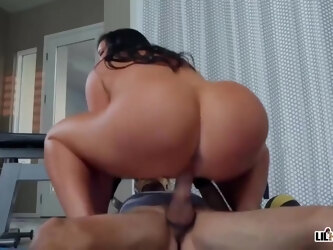 Lusty mature woman with big milk jugs, Sybil Stallone is fucking a much younger guy