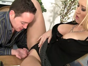 Slutty blonde haired milfy lady boss Alana Evans spreads her legs wide open for handsome co-worker. He pulls her black panties aside and fill her wet