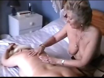 Two lesbian grannies play
