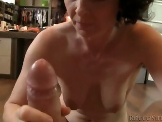 This mature housewife isn't ready to retire from sex yet, so she takes Rocco's massive cock in her mouth and shows her skills!