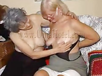 Two very old and saggy grannies and on their couch. These whores may be old but they are still lustful so without much talking the bitches take off th