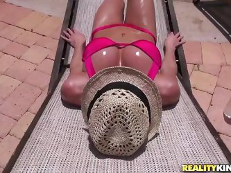 Kentra Lust is a horny milf with big tits and round ass. She likes exposing her skin in the sunlight. Watch how that man in red shirt talks her into c