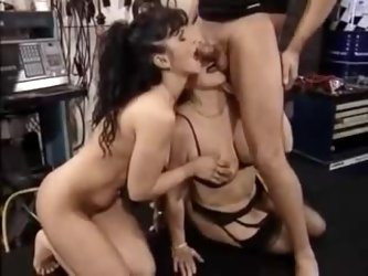 Granny and her milf daugher share this hard cock