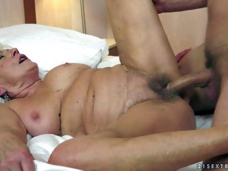 Whorish old short haired granny with hanging knockers gets huge meaty rock hard cock up her hairy cunt in amazing fantasy with young horny stud with s
