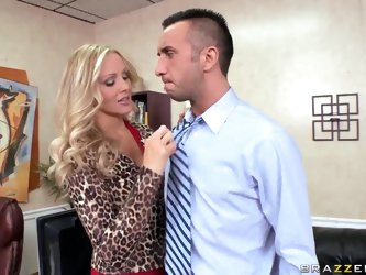 Gagging on her boss's dick is what Julia Ann loves