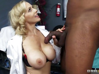 Doctor Julia Ann makes her dark skinned crazy patient Lucas Stone bust a nut. She sucks his cock and then takes his nice chocolate sausage between her