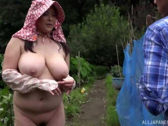 Outdoors FFM threesome with cock hungry Japanese Hagi Azusa