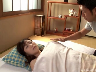 Passionate lovemaking on the bed with Japanese MILF Kawakami Yuu
