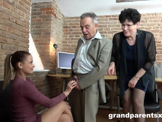 Office group sex between two matures and two younger people
