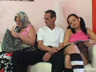 Dirty granny loves to watch her husband while he fucks a younger hottie