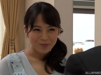 Asian MILF Mishima Natsuko gives a handjob and rides his cock