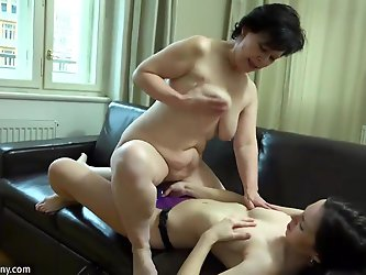 Sexy lesbian girl masturbate hairy pussy from old lady and fuck with strapon
