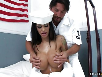 Sexy milf Angelina Valentine has such busty big boobs that Tommy Gunn the royal navy couldn't help but to rub & squeeze those firm bo