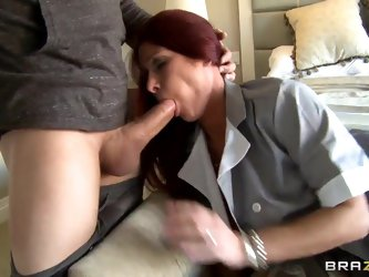 Handsome Xander has a very sexy maid with whom they have a wonderful weekend. The girl begins by teasing her boss with a sloppy wet kiss to his dick a