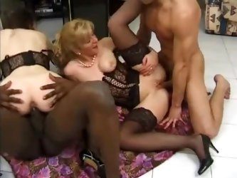 French women in sexy lingerie fucked in foursome