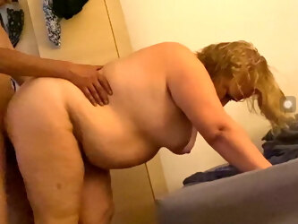 Role play, grandma likes hard doggy on all fours,