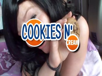 That busty chick got hungry after passionate fucking, and she decided to have a couple of cookies. But any cookie tastes better with cum :) Enjoy this