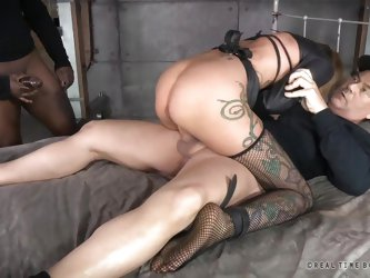 A restrained bitch is fucked hard by two cocks in the same time as she has never been in her life. No one can help the tattooed slut as she is tied up