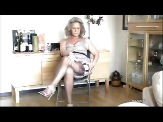 Granny models her sexy stockings