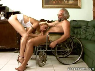 Tall smoking blonde blonde nurse Trisha with long legs and huge juicy knockers in white lingerie and high heels gives head to grandpa in wheelchair an