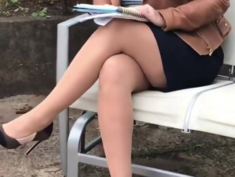 Talk and smoke in pantyhose and heels 2