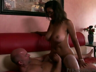 Busty mature cougar Persia Monir sits on a large dick