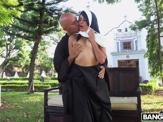 Hardcore outdoors fucking with a dirty nun Yudi Pineda who loves cock