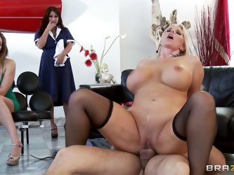Karen Fisher has Ramon big hard cock for rent. She shows how to get pleasure sucking and fucking his prick in front of curious women. Watch her get he
