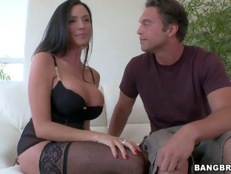 Ariella Ferrera is a hot tall milf with ultra long legs and big boobs. She looks dangerously sexy in her black lingerie. Dude touches her big breasts