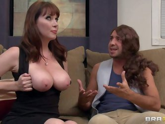 Sexy mommy Rayveness with jumbo melons bares her assets for her hippie friend Keiran Lee. MILF's huge boobs turn him on to the point of no return