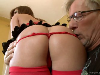 Ultra sexy Donna Bell in sexy mesh bra, stockings and latex mini skirt gets her perfect round ass licked by middle aged man Christoph Clark. He loves