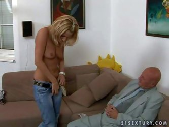 Filthy grandpa with shaved head in grey suit picks up slender young blonde babe with nice natural boobs and hot body in tight jeans on the street gets