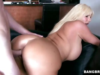 Blonde milf Karen Fisher is a smoking hot woman with some curves. This experienced slut with big tits and ass gets her pussy vigorously drilled doggy