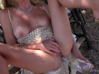 Solo outdoors video of horny mature Eve pleasuring her cravings