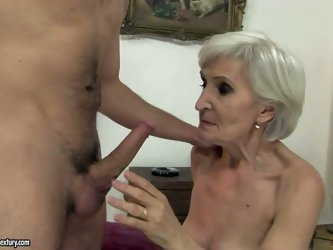 Cock hungry short haired blonde granny with sexy make up in stockings only gives head to young horny pool boy and gets his rock hard pecker deep in he