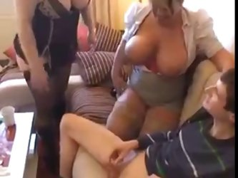 Two Sexy Matures Have Fun With Young Tech