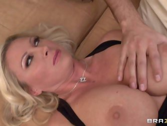 Attractive blonde haired milf Devon Lee is a hot experienced woman with nice juggs. She gets her big breasts rubbed by hot neighbor while sleeping bef