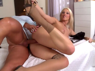 Stunning blonde wife Blanche Bradburry gives a footjob during sex