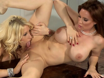 Lesbian love making on the kitchen table - Candy Manson and Diamond Foxx