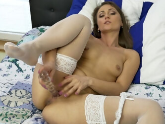 Solo model Angel Karyna takes off her panties to poke her butt