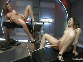 Horny whores like having their cunts fucked by machine dildos and vibrators. With their legs spread they scream with pleasure and squirt like never be