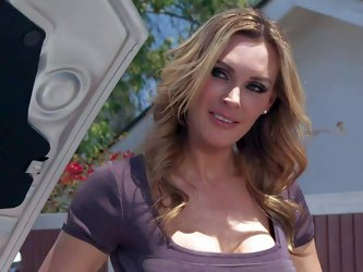 Tanya Tate is one of those incredibly sexy milfs men would like to fuck. Lucky guy drills her shaved pussy with his stiff dick after fixing her car. B
