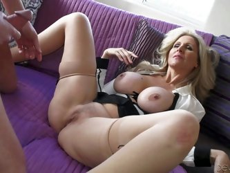 Julia Ann is a sex obsessed big titted mature beauty that licks guy's; balls and sucks his stiff cock like crazy before she spreads her legs wide