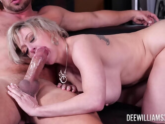 Mature wife Dee Williams with large fake tits fucked by a big cock