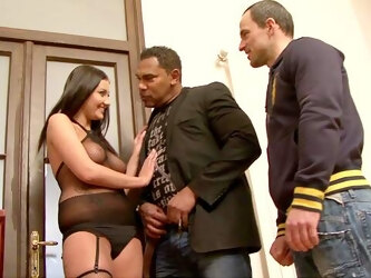 Tanned brunette works magic with her tight pussy in rough trio