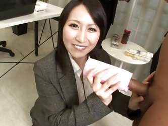 This exactly the kind of woman, every Japanese executive wants, working in his office. When entertaining clients the boss asks her to come over, she t