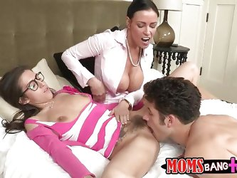 These brunette sluts Vanilla DeVille and April O'Neil are busty mom and sexy daughter! But the mom is busy in fingering her girl's pussy whi