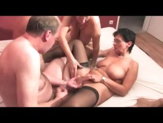 Chubby swingers at a hot filmed party