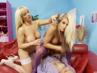 Natasha Marley and Rebecca Moore eat pussy during threesome sex